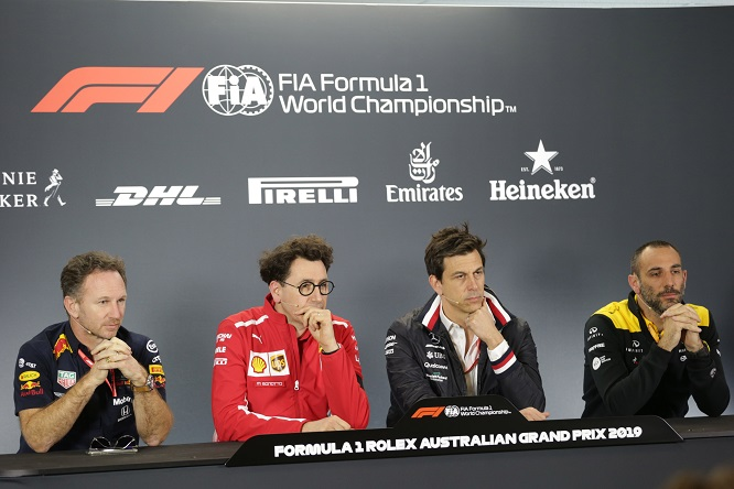 15.03.2019- Official Fia press conference, L to R Christian Horner (GBR), Red Bull Racing, Sporting Director, Mattia Binotto (ITA) Ferrari Team Principal, Toto Wolff (AUT) Sporting Director Mercedes-Benz and Cyril Abiteboul (FRA) Renault Sport F1 Managing Director