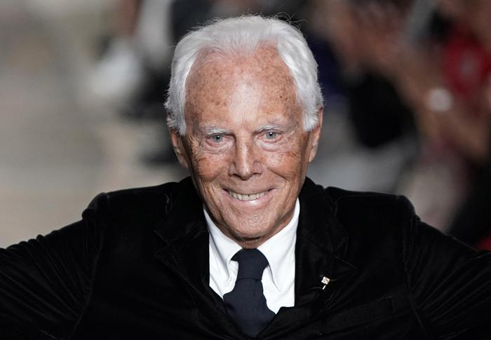 epa07597465 Italian fashion designer Giorgio Armani smiles after the presentation of his Cruise collection 2020 at the Tokyo National Museum in Tokyo, Japan, 24 May 2019.  EPA/FRANCK ROBICHON